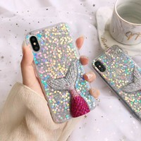 Chic 3D Twinkle Mermaid Tail Soft TPU Clear Cover Mobile Phone Case For iPhoneX 8 6s 7plus Casing Skin Shell Protection