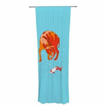 "BarmalisiRTB ""Koi Cat"" Aqua Orange Decorative Sheer Curtain"