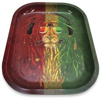 Designed Metal Rolling Tray (Mini) - Rasta Lion