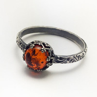 Natural Amber Ring -  Sterling Silver Amber Ring - Custom created in your size
