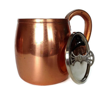Solid Copper Mug, Moscow Mule, West Bend Vintage Copper Cup with Lid