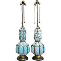Vintage MONUMENTAL CAGED Aqua Blue MURANO Glass Lamps