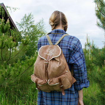 Vintage Hiking Rucksack / Soviet Travel Canvas Backpack w Real Leather Straps / Khaki Camping / Scout / Explorer Bag / XII Moscow Festival