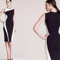 2015 Women Girl Slinky Long Work Dress OL Work Dress Panelled Patch work Pencil Dress Evening Dresses for Sping Summer Autumn