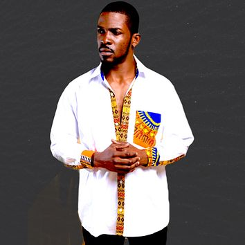 White Long Sleeve Dashiki  Men's Shirt