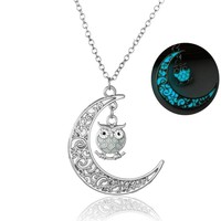 1 Pc Owl Night Luminous Necklace Hollow Necklace Glow In The Dark Women Gift Gift 111901