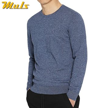7Colors Sweater Pullovers Men 100% Merino Wool Sweater Jumpers Man Winter Warm Mercerizing Fleece Male knitwear Autumn Plus Size