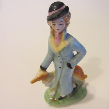 Japanese Hand Painted Signature Porcelain Statue Woman With Dog