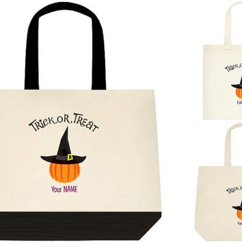 Pumpkin witch Trick or treat bag, 3 sizes,  Halloween bag, Halloween Tote, Cotton Canvas Tote Bag, Gift Bags, Trick or Treat Bag