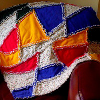 Christmas Crazy Rag Quilt  Christmas Lights by marylandquilter