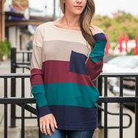 Color Block Pocket Sweater, Mocha-Navy