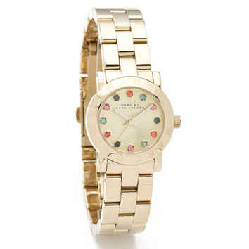 Marc by Marc Jacobs MBM3147 Women's Mini Amy Quartz Crystal Accents Gold Tone Dial Gold Tone Stainless Steel Bracelet Watch