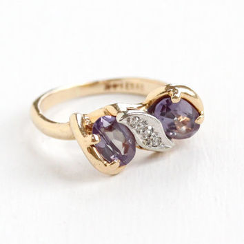 Vintage 14k Yellow Gold Created Purple Sapphire & Diamond Ring - Size 6 1/2 Bow Motif Simulated Alexandrite Fine Jewelry