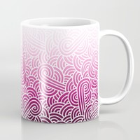 Ombre pink and white swirls zentangle Mug by Savousepate