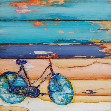 BICYCLE ART PRINT, bike art, bicycle art, beach art, beach print, cycling, positive art, wall decor, home decor, mixed media, All Sizes