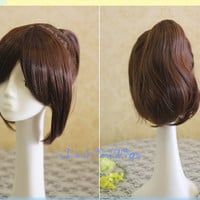 Attack On Titan Sasha Blaus Curly Cosplay Wig with Ponytail, Dark Brown Costume Anime Wigs for Party UF097