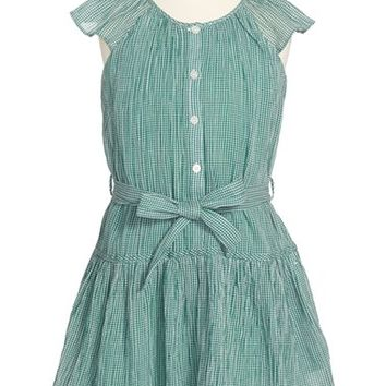 Girl's Burberry 'Talley' Cap Sleeve Dress