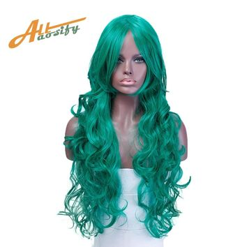 Long Wavy Wig Green Blue Purple 9 Colors Heat Resistant Synthetic Hair Costume Halloween Party Cosplay Wig