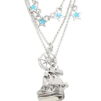 Licensed cool Disney Peter Pan Pirate Ship Stars Compass 3 Layer Charm Pendant Necklace NEW