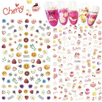1pcs Nail Art Sticker Adhesive 3D Colorful Tips Fruit Strawberry Pineapple Cute Nail Sticker Decal Cake Manicure SAF285-294