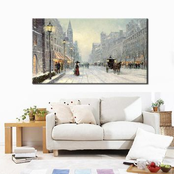 70x140cm - Canvas Prints Wall Decor, Abstract Canvas Painting City Winter Snow Landscape Wall Art Poster for Living Room Wall
