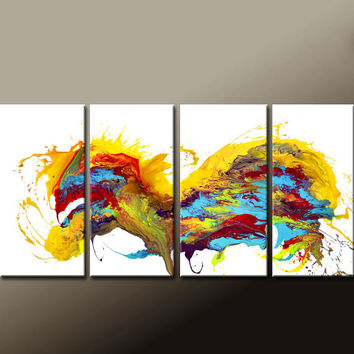 Abstract Canvas Art Painting 4pc 72x36 Contemporary Original Modern Art by Destiny Womack  - dWo -  In The Heart of a Dreamer