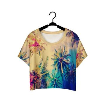 Skateboard Skater t-Shirt Vintage Coconut Tree Print ing T-Shirts Loose Fitness Cropped Tops Retro Coconut Palm Women Sports T Shirt Camisetas AT_45_3