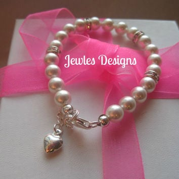 Swarovski White Pearl Classic  Baby couture bracelet, infant jewelry, Baptism, christening, baby shower gift, baby girl Jewellery .