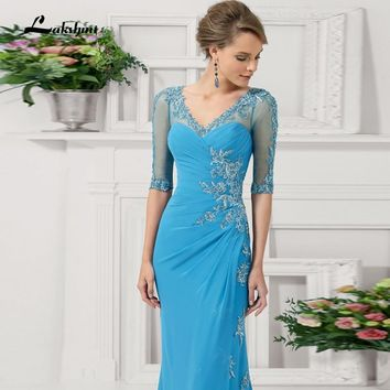 Elegant Long High Neck Mermaid Mother Of The Bride Dresses with Sleeves Plus Size New Fashion Vestido De Madrinha