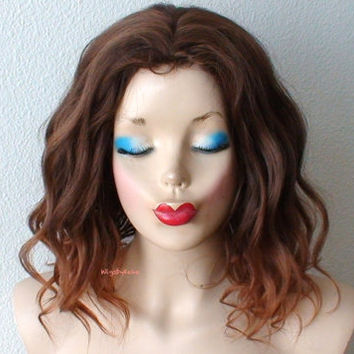 Brown / Auburn ombre wig. Beach wavy hairstyle short  brown wig. Quality synthetic wig for daytime use or Cosplay