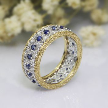 Natural Blue Sapphire Eternity Band Italian Textured Style Halo Accents 18k Two Tone Gold Wedding Engagement Ring Band (CFBLR001)