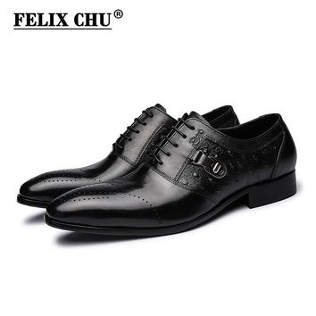 Handmade Designer Print Genuine Leather Men Oxford Dress Shoes Male Party Wedding Office Black Brogue In Flats