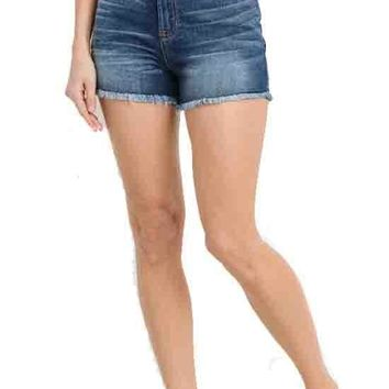 Just Black - Medium Blue Denim High Rise Back Pocket Shadow Jean Shorts