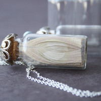 Glass vial necklace steampunk necklace bridal pendant peacock jewelry neo victorian jewelry neo gothic pendant bridesmaids gift VANITY FAIR
