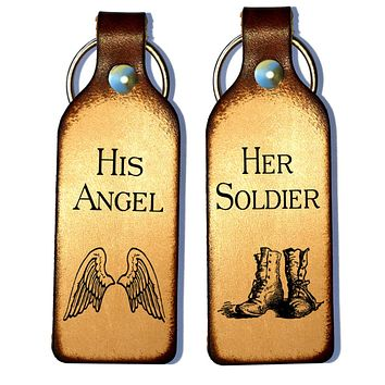 Her Soldier & His Angel Leather Couples Keychains