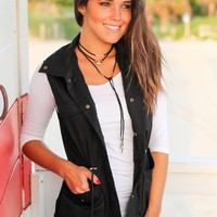 Black Button Vest with Hood
