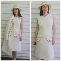 60s Lilli Ann Dress and Jacket Mod White Red Mad Men 1960s S