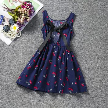 Sundress Baby Girl Halter Dress Children's Girl Clothing Printed Kids Dresses For Girls Party School Wear Size 8 Clothes Cheap