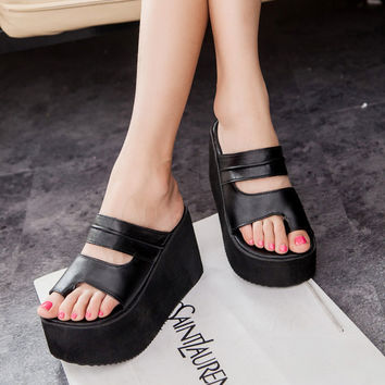 Summer new arrival 2016 flip flops platform wedges sandals women foot wrapping beach slippers women's shoes sandals