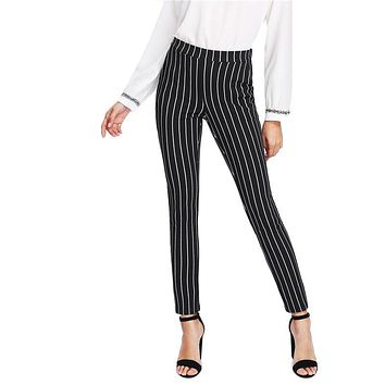 Vertical Striped Elastic Waist Pocket Mid Waist Long Pencil Skinny Pants