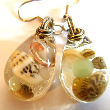 Sea Shell Earrings Clear Resin Tiny Shells Stones Pebbles Rocks Beach Boho Bohemian Jewelry Ocean Surgical Steel Sensitive Ears Teardrop