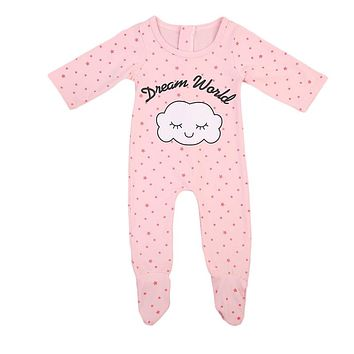 Newborn Baby Girls Sleepwear Pajamas Set Clothes  New Pink Cute Cloud Pattern Long Sleeve Zipper Romper