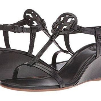 ONETOW Tory Burch Miller 60MM Wedge Sandal - Nappa Leather - Black (9)