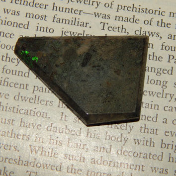 GENUINE OPAL - Australian Queensland Black Matrix Concrete Opal Slice - Loose Gemstone - Metaphysical Crystals - Chakra Stones - Gemstones