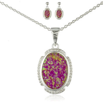 925 Sterling Silver Oval Created Opal Necklace with Cz Stones and Matching Stud Earrings Jewelry Set (Pink)