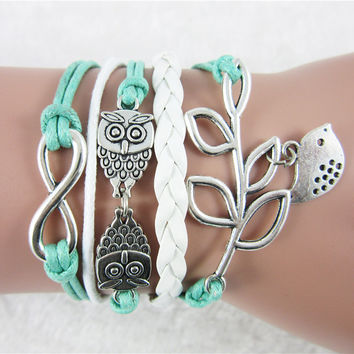 Fashion Jewelry Women Braided Wristband Barcelet Owl Birds Eight word Charms Barcelet Friendship Bracelets Free shipping