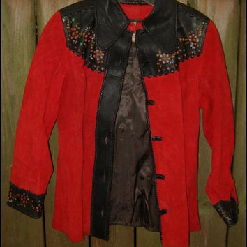 Vintage 70s CHAR Red Suede Leather Rock Star BOHO Painted Jacket sz XS Very Unique