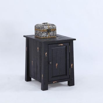 Willow Rustic Chairside Cabinet Distressed Black