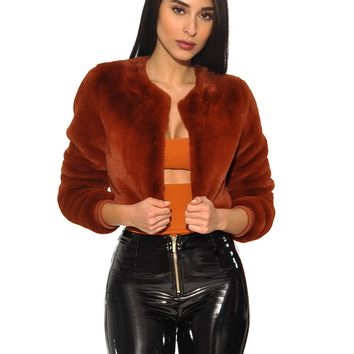 Jenna Burnt Orange Waist Length Faux Fur  Coat
