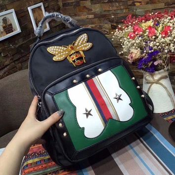 DCCK7BW GUCCI : Women Casual School Bag Cowhide Leather Backpack
